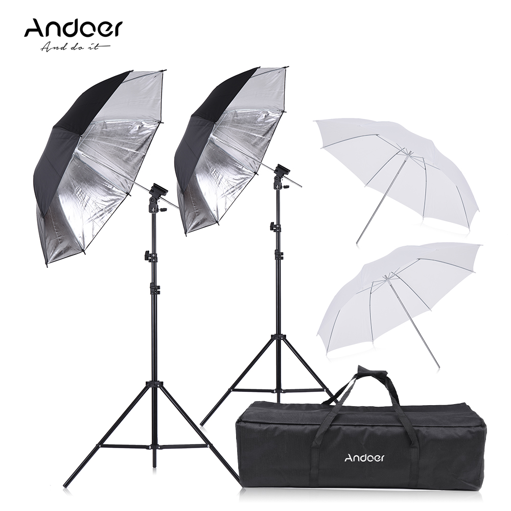 Andoer Speedlight Flash Shoe Mount Swivel Soft Umbrella Kit Brackets Light Stand Soft Umbrella for Canon
