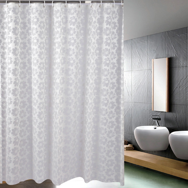 PEVA Fashion Silver Flower Shower Curtain Home Hotel Special Waterproof Mildew Bath
