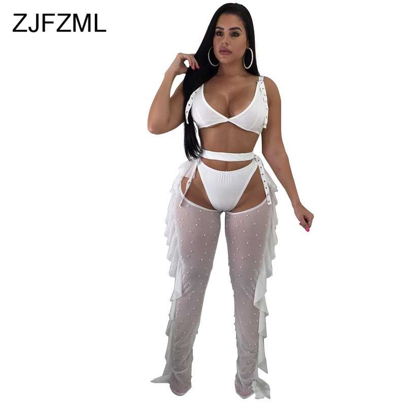 ZJFZML Sexy 3 Piece Tracksuit For Women V Neck Backless Cami Crop Top And Triangle Shorts And Beaded Sheer Mesh See Through Pant