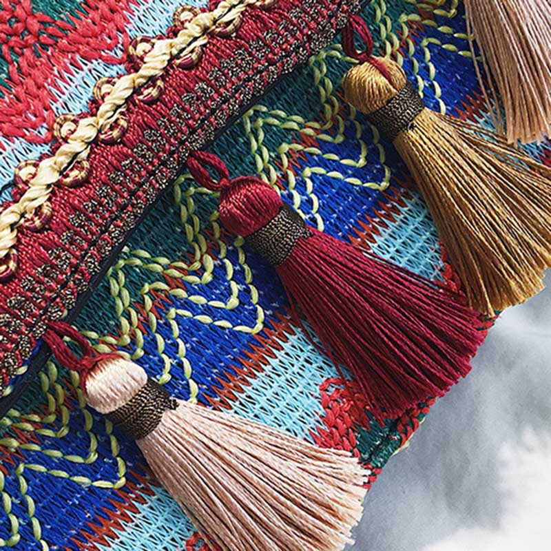 New Women Tassel Fashion Straw Bag INS Popular Female Summer Handbag Chains Lady Casual Shoulder Bag Beach Knit Crossbody SS3307 (14)