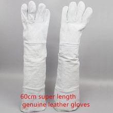 Free shipping hot selling 60cm super length cow split genuine leather welding working safety gloves high temperature insulated