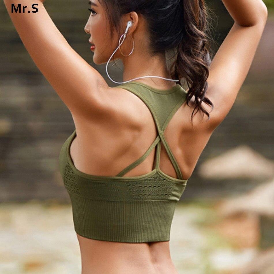 Frauen energie nahtlose sport-bh workout armee grün gym crop top hohe auswirkungen fitness yoga bh brackless strappy sport bh