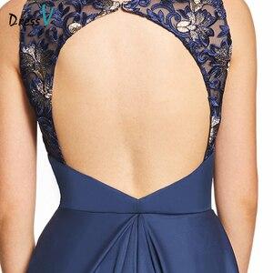 Image 5 - Vestido de noche largo azul real oscuro, Espalda descubierta, barato, con cuello redondo, para fiesta de boda, formal, bordado
