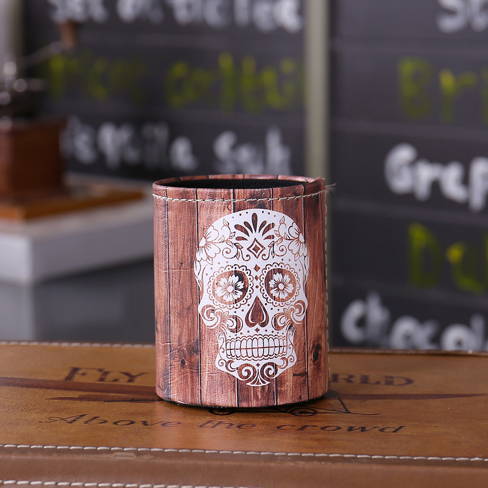 LINKWELL Antique Sugar Skull Wood Slat Halloween PU leather Pencil Pen Holder Desk Organizer Storage Box Case Back to School