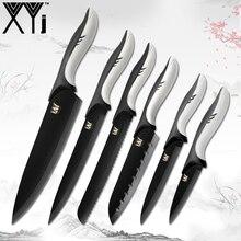 XYj нержавеющая сталь ножи Фрукты Утилита Santoku хлеб поварской нож для тонкой нарезки + точилка для кухонных ножей высокой твердостью 7 шт. наборы для ухода за кожей