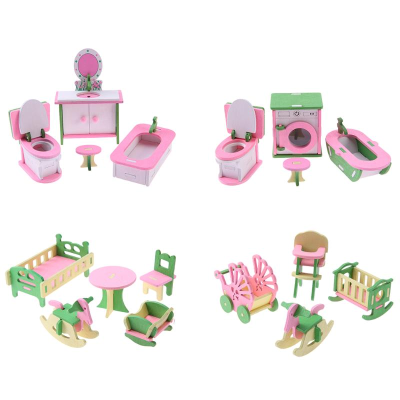 Wooded Mini Furniture Set Kids Pretend Play font b Toy b font Miniature Dollhouse Simulation Chairs