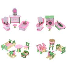 Wooded Mini Furniture Set Kids Pretend Play font b Toy b font Miniature Dollhouse Simulation Chairs