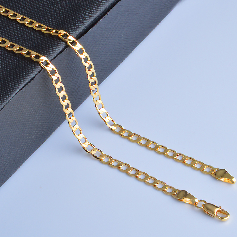 TJP 20 Inch 2018 Hot sale Women Necklace Chain Jewelry Shining Gold Men Party Bar Chains Jewelry Freeshipping 4MM 6MM 8MM in Chain Necklaces from Jewelry Accessories