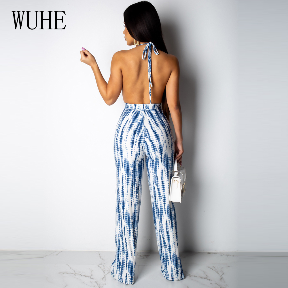 WUHE Summer Fashion Sexy Bodycon Jumpsuit Women Stripe Print Night Club Wear Backless Romper Boho Hollow Out Lace Up Bodysuit