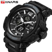PANARS Men Military Watch S SHOCK Style Sport Quartz Dual Display Watches Man Army Military 3D Big Dial Male Clock Wristwatches