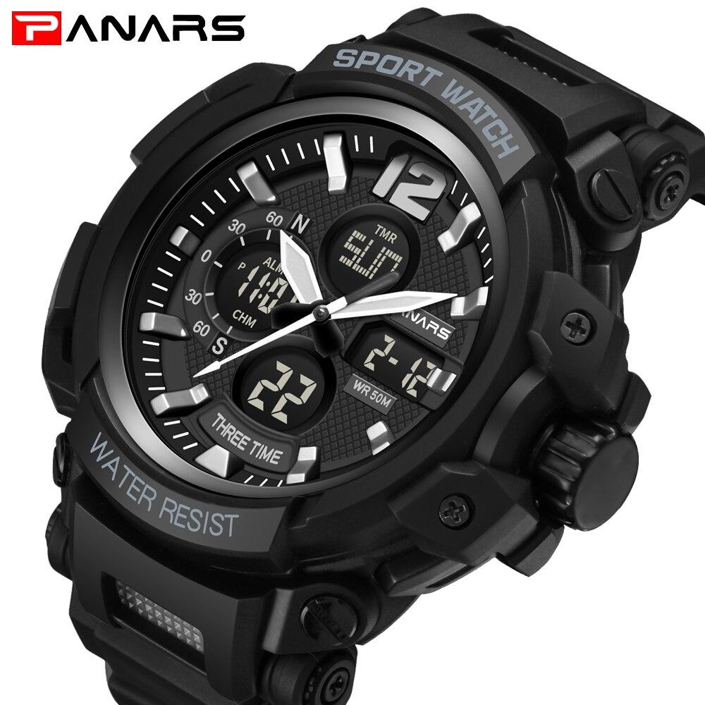PANARS hommes montre militaire S Style choc Sport Quartz double affichage montres homme armée militaire 3D grand cadran mâle horloge montres