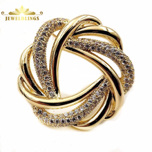 Classic Vintage Opens Wire Twist Love Knot Brooches Gold Tone Pave Tinny CZ and Golden Wire Overlap Wreath Style Knot Pin Broach