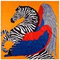 100% Саржевого Шарф Квадрата Шелка Мусульманские Банданы Хиджаб Leopard Лошадь Новый Дизайн Люксовый Бренд Для Женщин Оголовье Шаль 100*100 см
