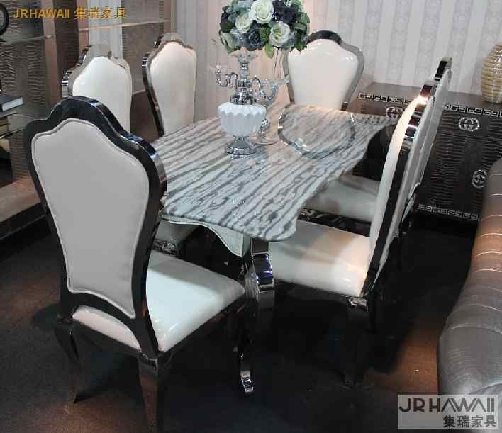 stainless steel Dinning table with dining room set with 6 chairs with marble table top and stainless leather chair