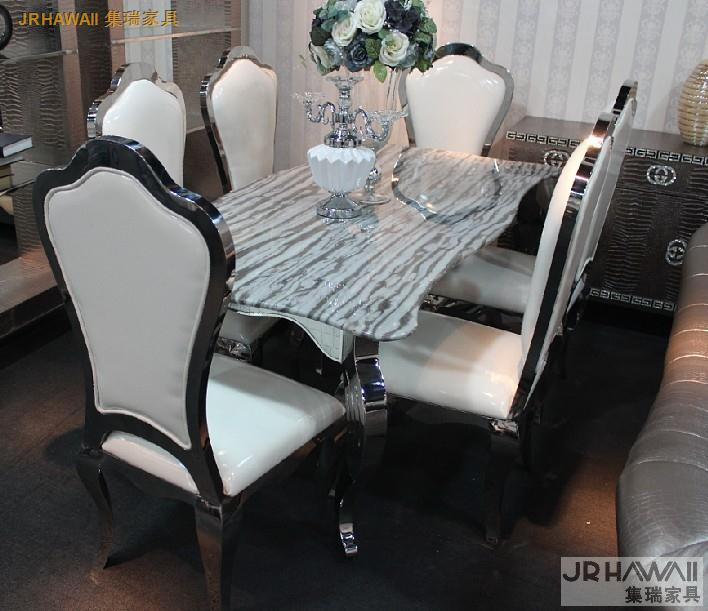 Фото stainless steel Dinning table with dining room set with 6 chairs with marble table top and stainless leather chair