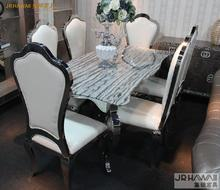 stainless steel Dinning table with dining room set with 6 chairs with marble table top and stainless leather chair 2018 oak furniture tv comedor meuble dining table sets free shipping to uk french style marble top dinning with 6pcs chairs