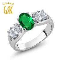925 Ayar Gümüş Yüzük 1.60 Ct Oval Yeşil Simüle Zümrüt Beyaz Topaz Zeytin ve beyaz kucaklama birbirlerine yüzük