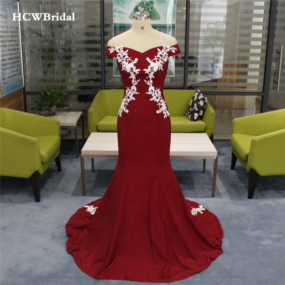 2019 New Burgundy Mermaid   Evening     Dress   With With White Lace Boat Neck Off The Shoulder Long Elegant Formal   Dresses   Cheap