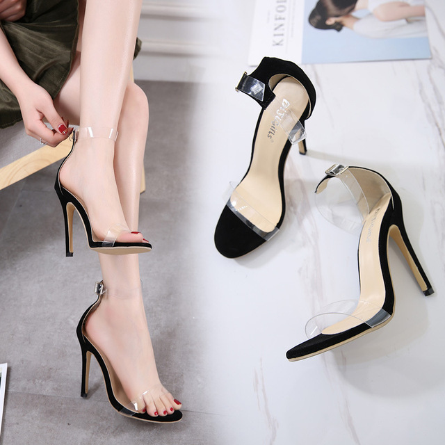 0f24a6f0ad1 New Ankle Strap Black Sandals Women Transparent Flock Summer Shoes Sexy  Open Toe Platform Clear High Heels Wedding Shoes Woman