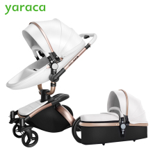 2 in 1 Luxury Baby Stroller With Separate Carrycot Black Frame 360 Degree Rotation Baby Carriage