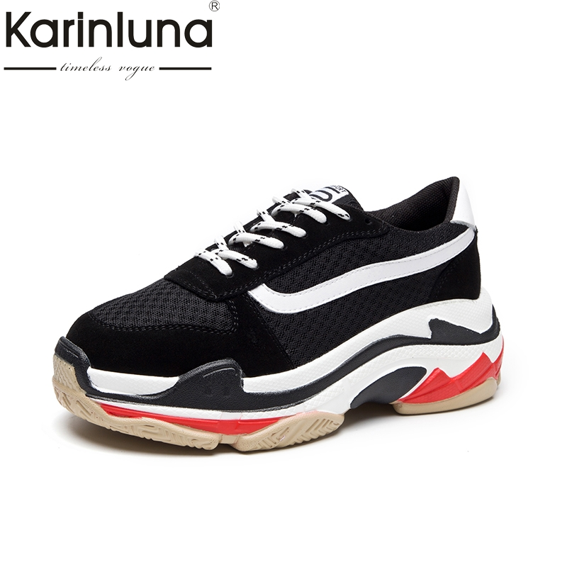 KarinLuna Brand Design Cow Suede Leather Flats Platform Sneakers Shoes Women Fashion Spring Black Leisure Woman Shoes
