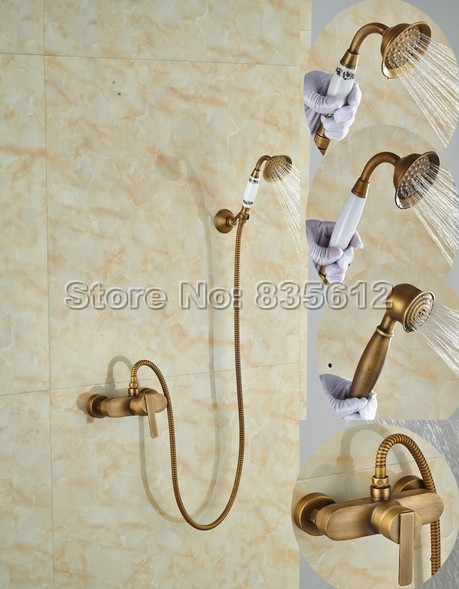 Antique Brass Finish Wall Mounted Bathroom Shower Faucet Handheld Shower Spray Single Handle Mixer Taps W019