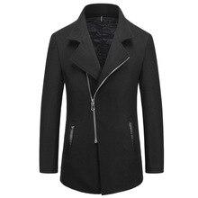 Мужская длинный участок лацкане шерстяное пальто случайные мужские шерстяные куртки
