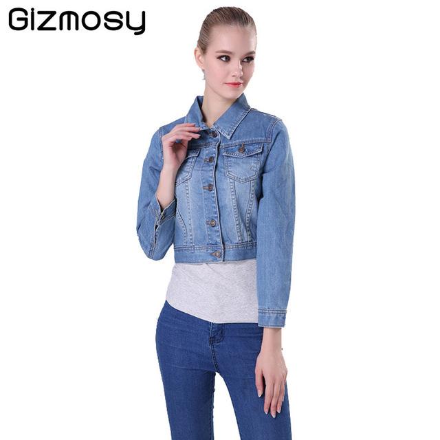 1 Pcs Primavera Outono de Manga Comprida Mulheres Jaqueta Jeans Desgastado calças de brim Mulheres Jaqueta Casaco Jean Casaco Plus Size Meninas Outwear BN028