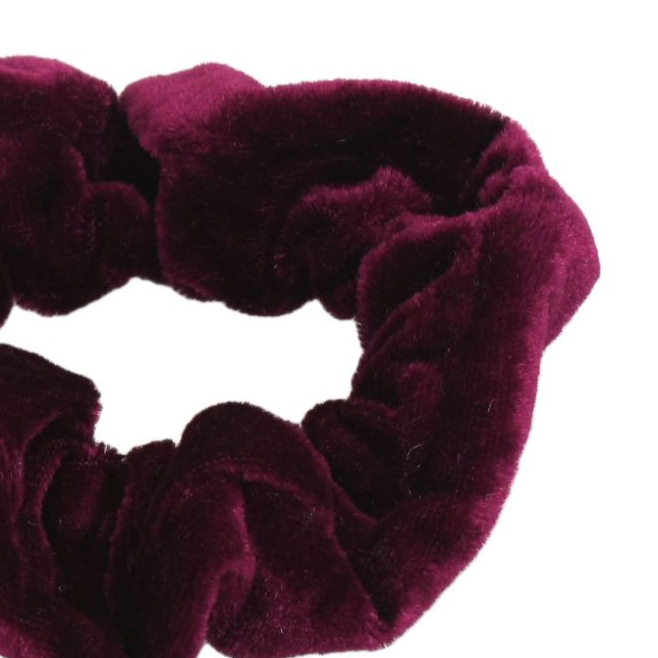NOCM Hot Burgundy Velvet Elastic Hair Tie Band Ponytail Holder for Women