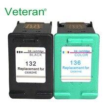 Ветеран 132 136 совместимый для hp 132 136 чернильный картридж для hp Photosmart 2573 C3183 1513 Officejet 6213 5443 D41631513 принтер
