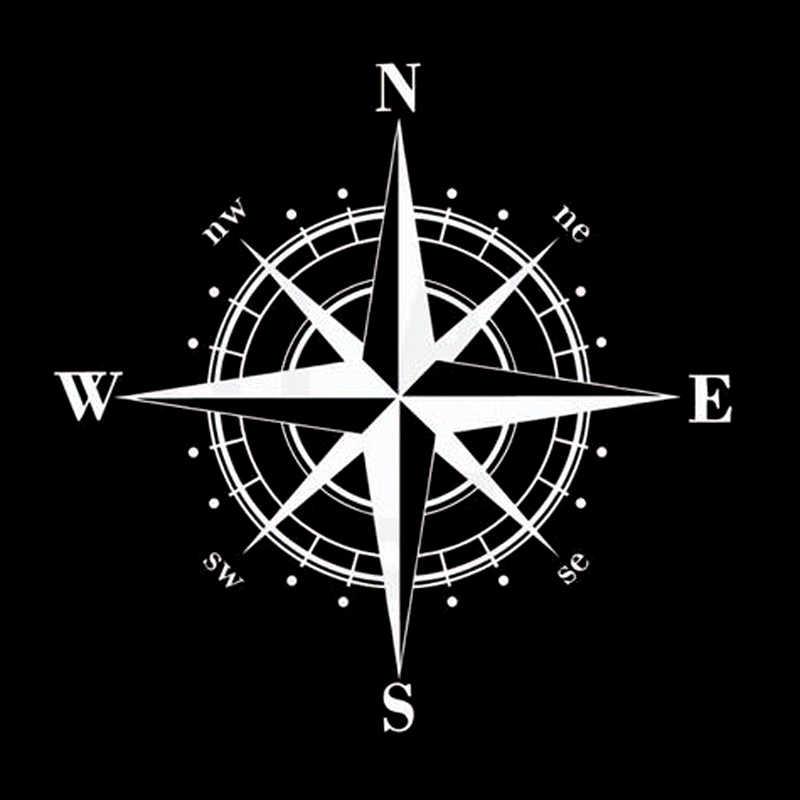 15 см * 15 см художественный дизайн винил NSWE компас автомобильные наклейки черный/серебристый S6-3505