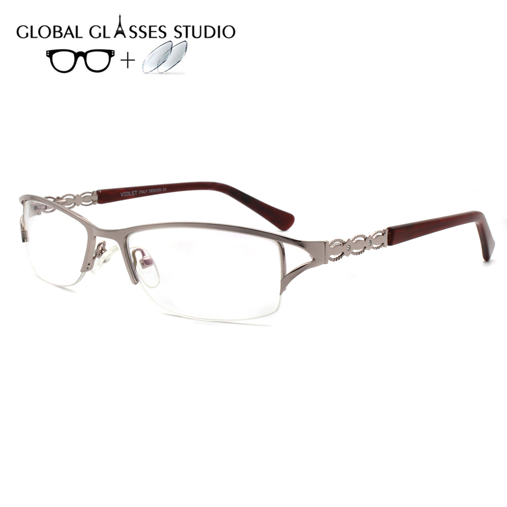 Women Metal  Glasses Frame Eyewear Eyeglasses Reading Myopia Prescription Lens 1.56 Index 5032 C6(China)