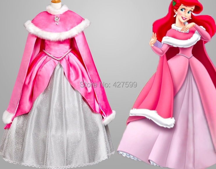 The Little Mermaid Ariel Pink Dress Cosplay Costume With Cape Princess Dress Cosplay Costume Ariel Pinkariel Pink Dress Aliexpress