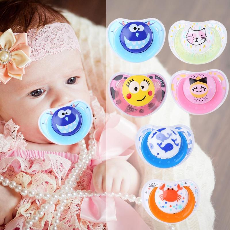 Cute Portable Newborn Baby Pacifier Silicone Funny Nipple Soother Anti-dust Lid Safety Infant Teether Feeding Tool
