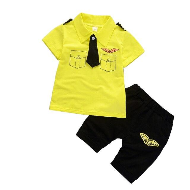 Il trasporto libero 2018 nuova estate del bambino dei ragazzi Pilota 2cps vestito  di cotone del bambino manica corta vestito a due pezzi 57c4d285d08
