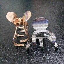 Высококачественные черные золотые металлические геометрические Когти для волос для девочек женские украшения для волос Шарм Большой орехокол бабочка свадебные аксессуары для волос