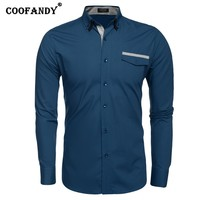 COOFANDY New Arrivals Man Shirts Long Seeve Cotton Slim Dual Turn Down Collar Long Sleeve Solid