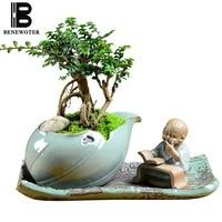 Zen Style Plant Planters Bonsai Ceramic Flower Pot Creative Design Mini Cute Little Monk Pot Indoor Office Home Garden Flowerpot