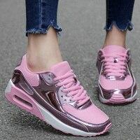 Fashion Pu Leather Women Sneakers Breathable Mesh Women Casual Shoes Flat Shoes Women Vulcanize shoes gold Silver Women Shoes 44