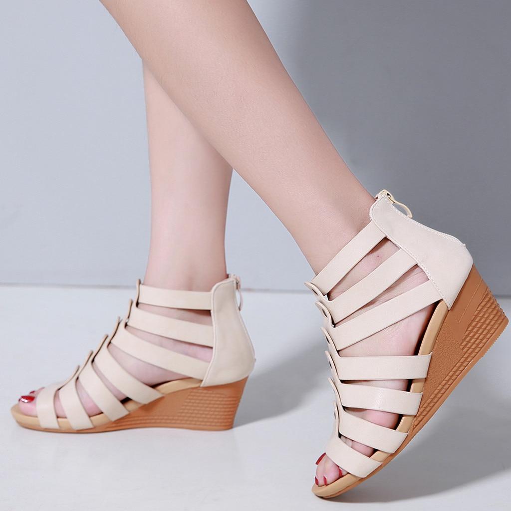 Women's Summer Gladiator Sandals Women High Heel Women Sandal Summer Shoes Wedge Sandals Wedges Block Heel Shoes Sandalias