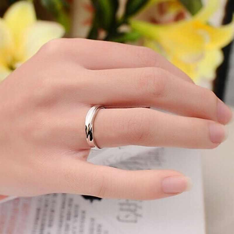 OMHXZJ venta al por mayor moda europea mujer hombre fiesta boda regalo Simple blanco amantes AAA circón 925 juego de anillos de plata de ley RR237