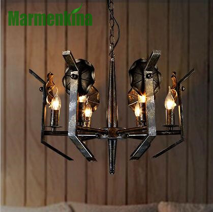 Shaped living room chandelier creative restaurant retro cafe bar iron art pendant lamps.E14*6,AC110-240V. european rural bird marble hemp rope chandelier cafe restaurant corridor balcony chandelier size 33 38cm e27 ac110 240v