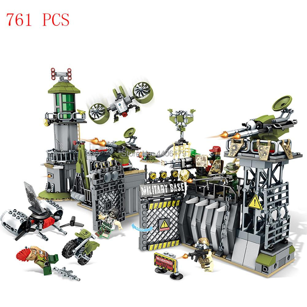 hot LegoINGlys military WW2 base Command center assault war Building Blocks mini army figure weapon brick toys for children gift ww2 mini brick compatible legoinglys military army swat soilders building blocks sets with weapons accessories toys for children