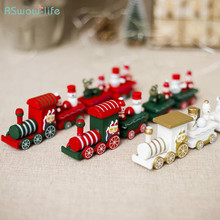 Creative Color Christmas Train Wooden Ornaments Christmas Decorations Children's Birthday Gifts Home Household Items 4 section little train christmas ornaments