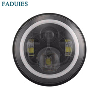 7 Round LED Headlight Projector Daymaker Headlamp With White Angle Eye For Harley Davidson Motorcycles