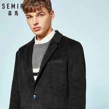 SEMIR Men Felted Wool-Blend Coat with Buttons at Cuff Men's Coat with Open Chest Pocket 100% Silky Polyester Lined for Winter(China)