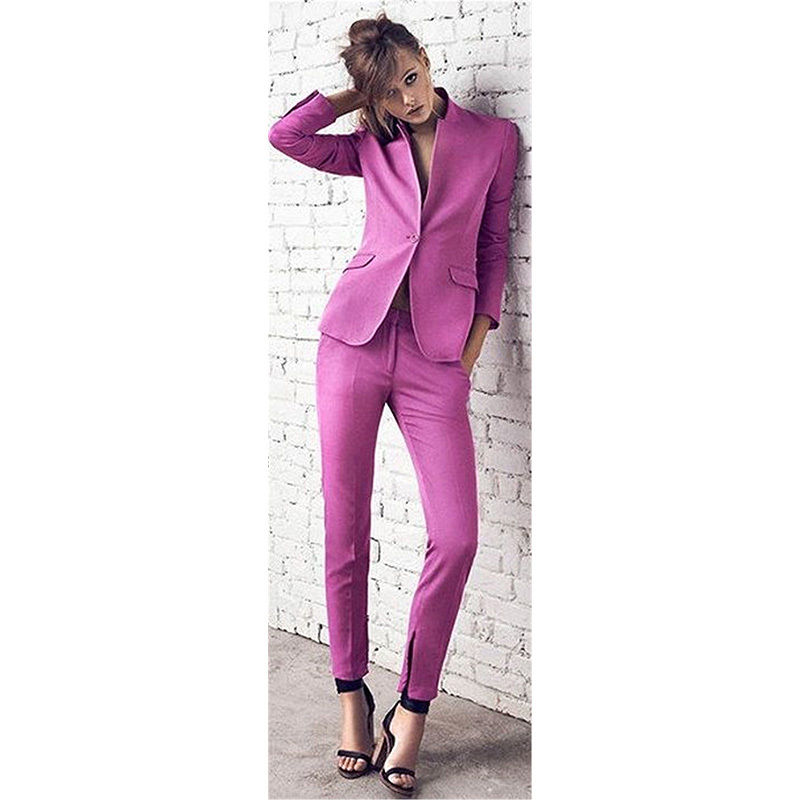 Purple Professional Business Uniforms Women O-Neck Formal Suits One Button 2 Piece Set B152