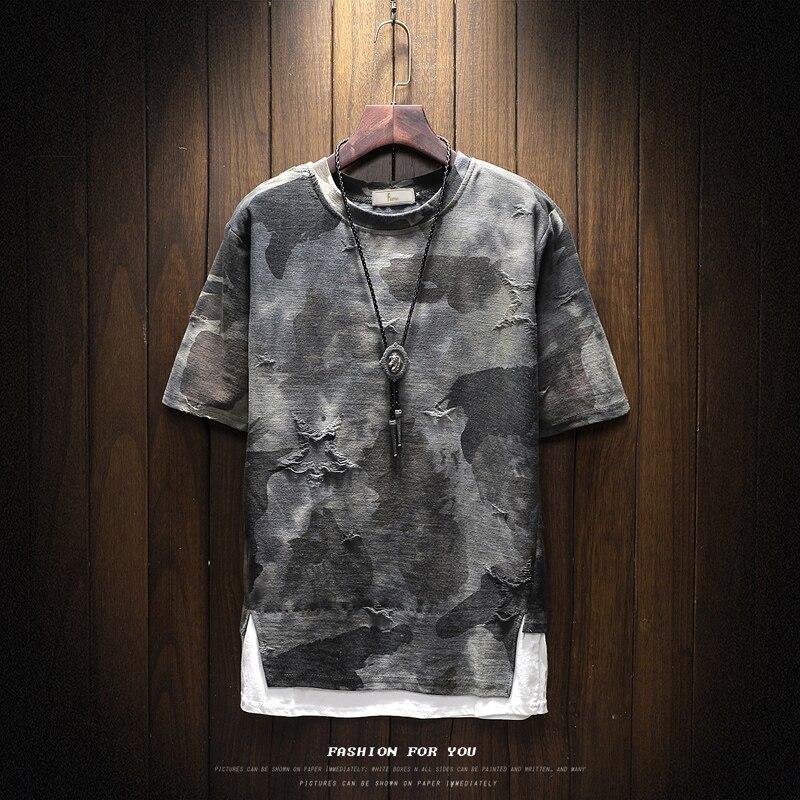 Marca de roupas de primavera dos homens design tshirt manga curta tático camuflagem t-camisa masculina militar quebrado t camisa