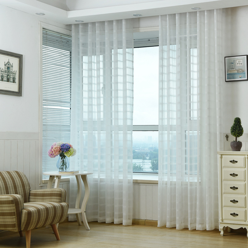 Modern Solid White Plaid Sheer Curtains for Living Room Window Treatments Tulle Curtains for Bedroom Cotton Linen Voile Drapes