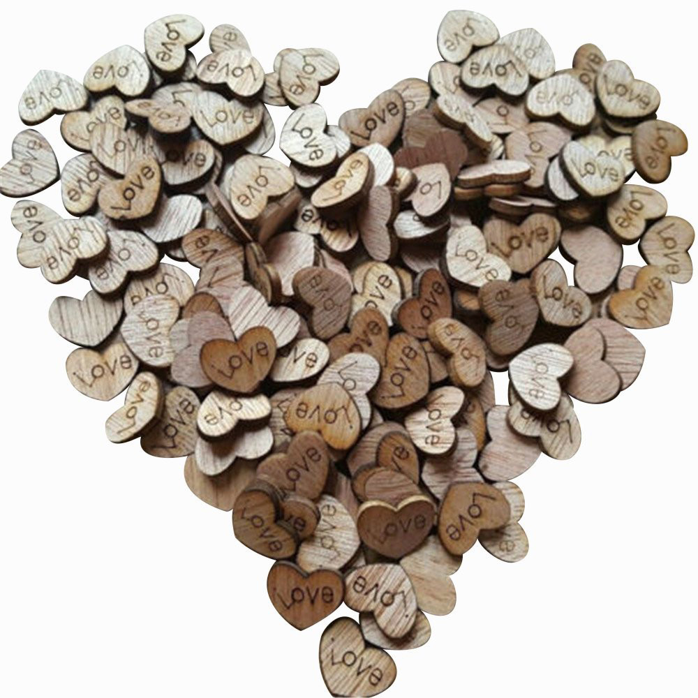 Wedding Gift Table Ideas: 2018 New 200pcs Creative Rustic Wood Wooden Love Heart